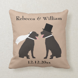 Two Brown Chocolate Labradors Personalized Wedding Cushion