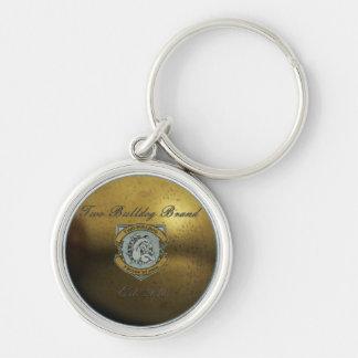 Two Bulldog Brand Gold Logo Silver Keychain