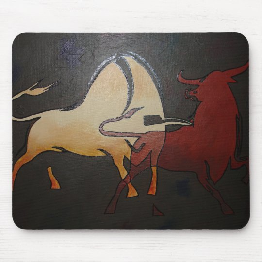 Two Bulls Fighting Mouse Mat