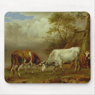 Two Bulls with Locked Horns, 1653 Mouse Mat