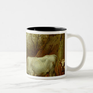 Two Bulls with Locked Horns, 1653 Two-Tone Coffee Mug
