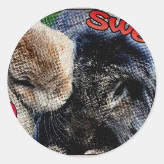 Two bunnies in love round sticker