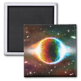 Two burning planets square magnet