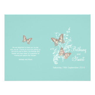 Two butterflies aqua teal graphic Wedding Program Flyer Design