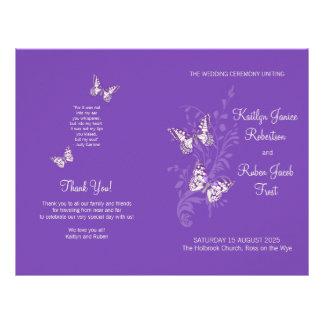 Two butterflies purple graphic Wedding Program 21.5 Cm X 28 Cm Flyer