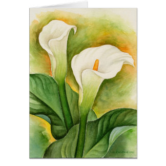 Two Cala Lilies Watercolor Art - Multi Greeting Card