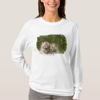 Two Canada Lynx Kittens Playing On A Log T-Shirt