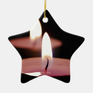 Two candles ceramic star decoration