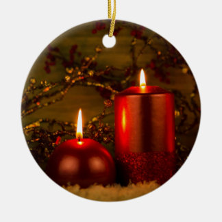 Two candles Christmas decoration Round Ceramic Decoration