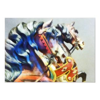 "Two Carousel Horses Closeup 5"" X 7"" Invitation Card"