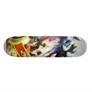 Two Carousel Horses Closeup Skateboards