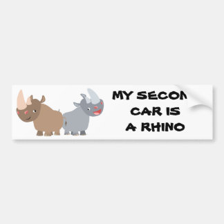 Two Cartoon Rhinos Bumper Sticker