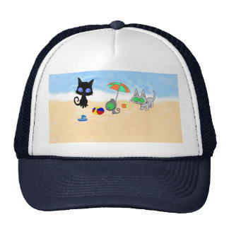 Two Cats And A Kitten At The Beach Mesh Hats