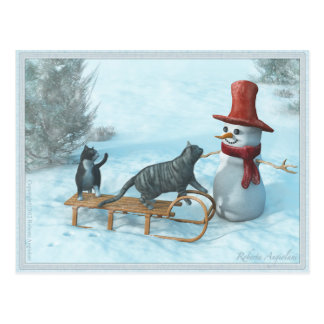 Two Cats and a Snowman Postcard
