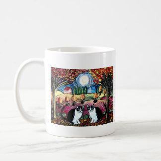 Two Cats And The Moon Basic White Mug