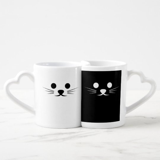 Two Cats Black And White Coffee Mug Set