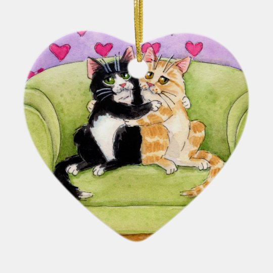Two Cats Christmas or Valentine ornament