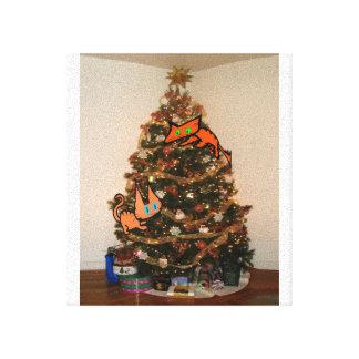 Two Cats Climb A Christmas Tree Canvas Prints