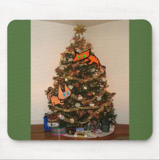 Two Cats Climb A Christmas Tree Mousepad