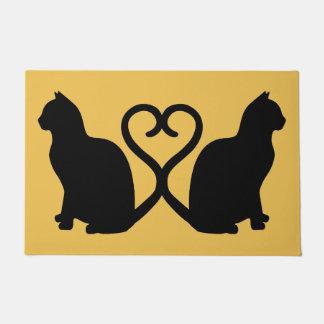 Two Cats Heart Silhouette Doormat