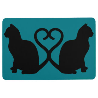 Two Cats in Love Heart Silhouette Floor Mat