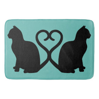 Two Cats in Love Silhouette Bath Mat