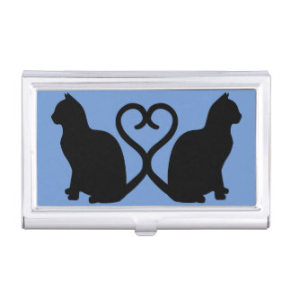 Two Cats in Love Silhouette Business Card Holder