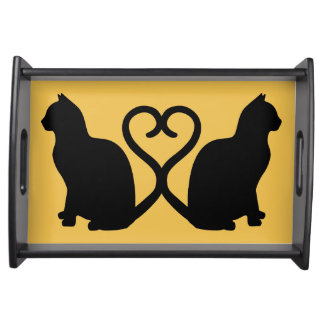 Two Cats in Love Silhouette Serving Tray