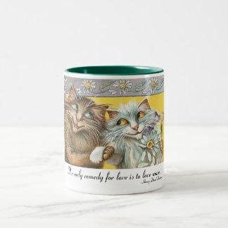 Two Cats In Love Two-Tone Coffee Mug