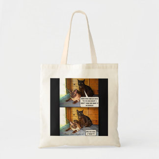 """Two Cats """"in the dog house"""" Budget Tote Bag"""