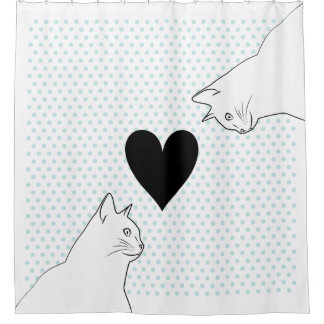 Two cats line drawing with polka dots and heart shower curtain