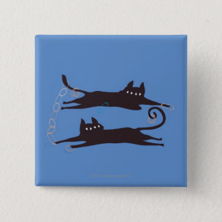 Two Cats Playing 15 Cm Square Badge