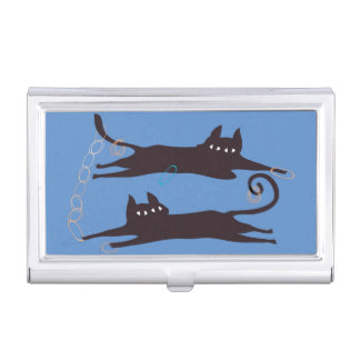 Two Cats Playing Business Card Holder