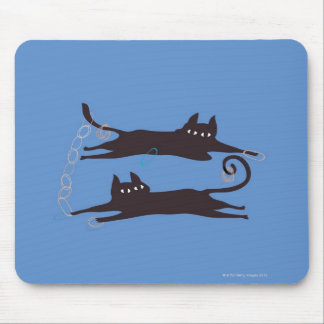 Two Cats Playing Mouse Mat
