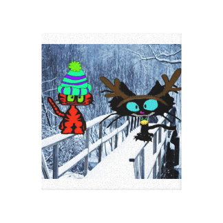 Two Cats Sit On A Snow Covered Bridge Stretched Canvas Print