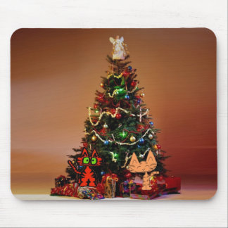 Two Cats Under Christmas The Tree Mouse Pads