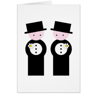 Two caucasian grooms card