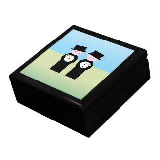 Two caucasian grooms gift box