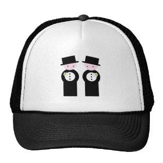 Two caucasian grooms mesh hat
