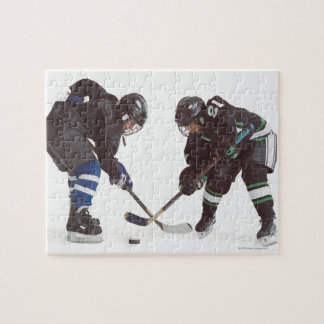 two caucasian hockey players wearing opposing jigsaw puzzle