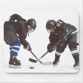 two caucasian hockey players wearing opposing mouse mat