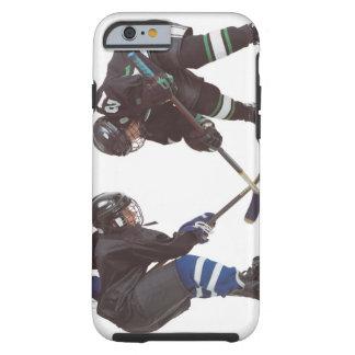 two caucasian hockey players wearing opposing tough iPhone 6 case