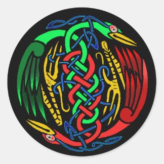 Two Celtic Birds Round Sticker