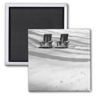 Two Chairs Buried In Snow Square Magnet