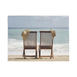 Two Chairs On Beach   Barbados Doormat
