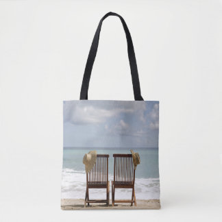 Two Chairs On Beach | Barbados Tote Bag