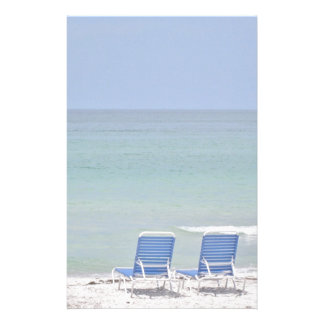 Two Chairs on Beach Personalized Stationery