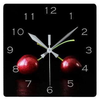 Two Cherries Grey Numbers Wall Clock