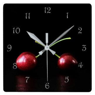Two Cherries Grey Script Numbers Wall Clock