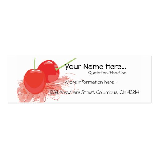Two Cherries Profile Cards Pack Of Skinny Business Cards